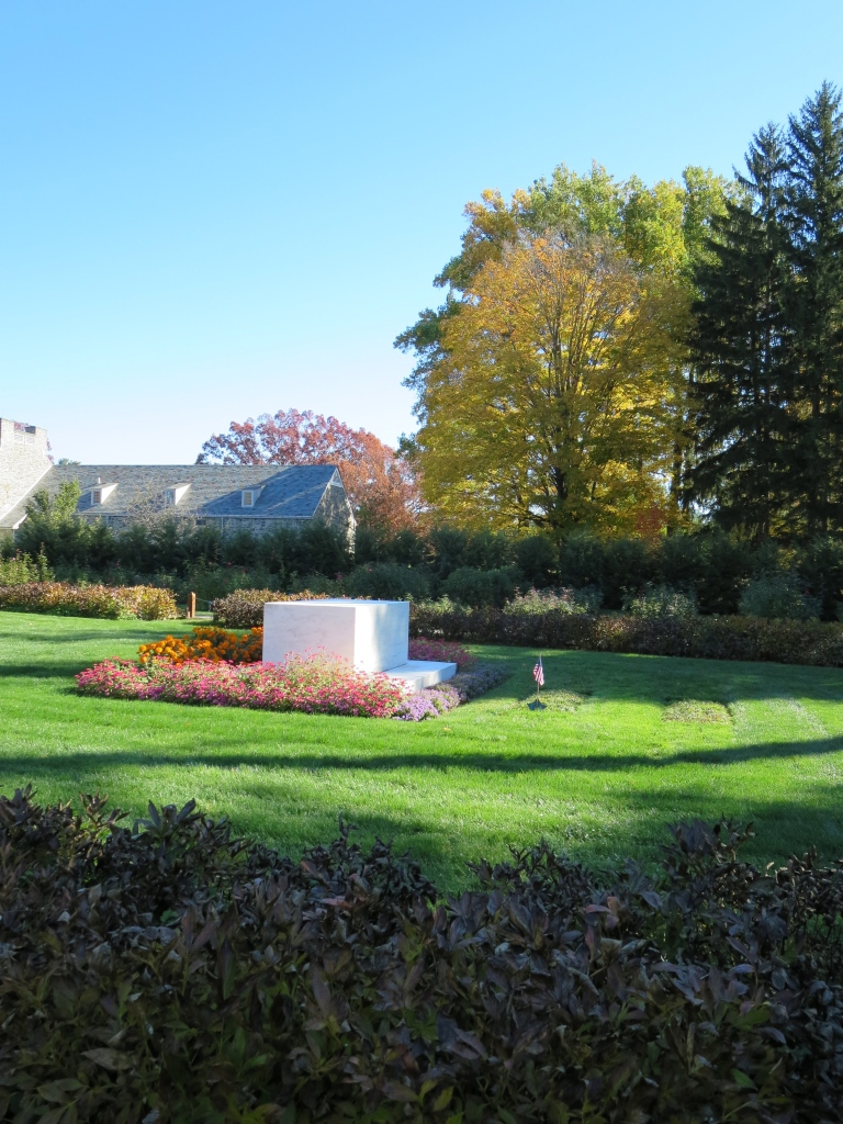 The joint tombstone marking the burial place of both FDR and Eleanor in the Rose Garden.