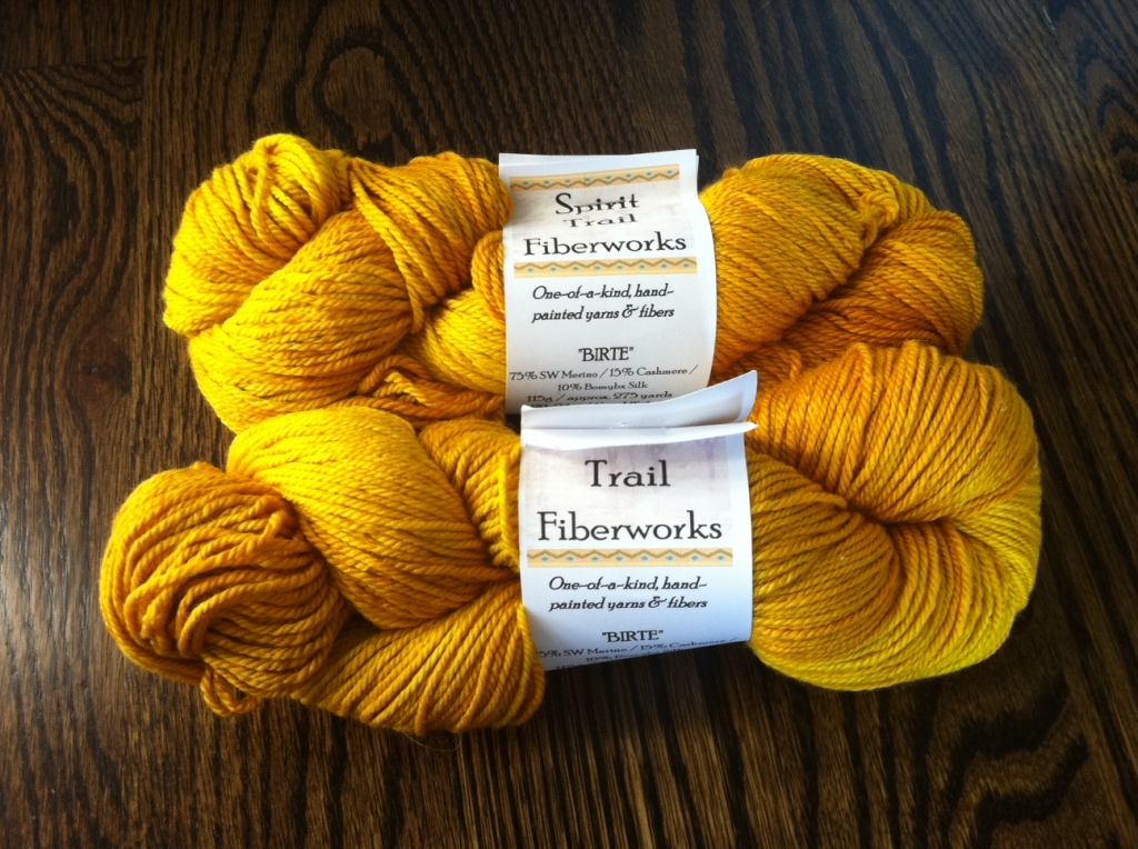 you know how i feel about golden yarn.  I blame Natalie and Mom.  these beauties are from Spirit Trail.